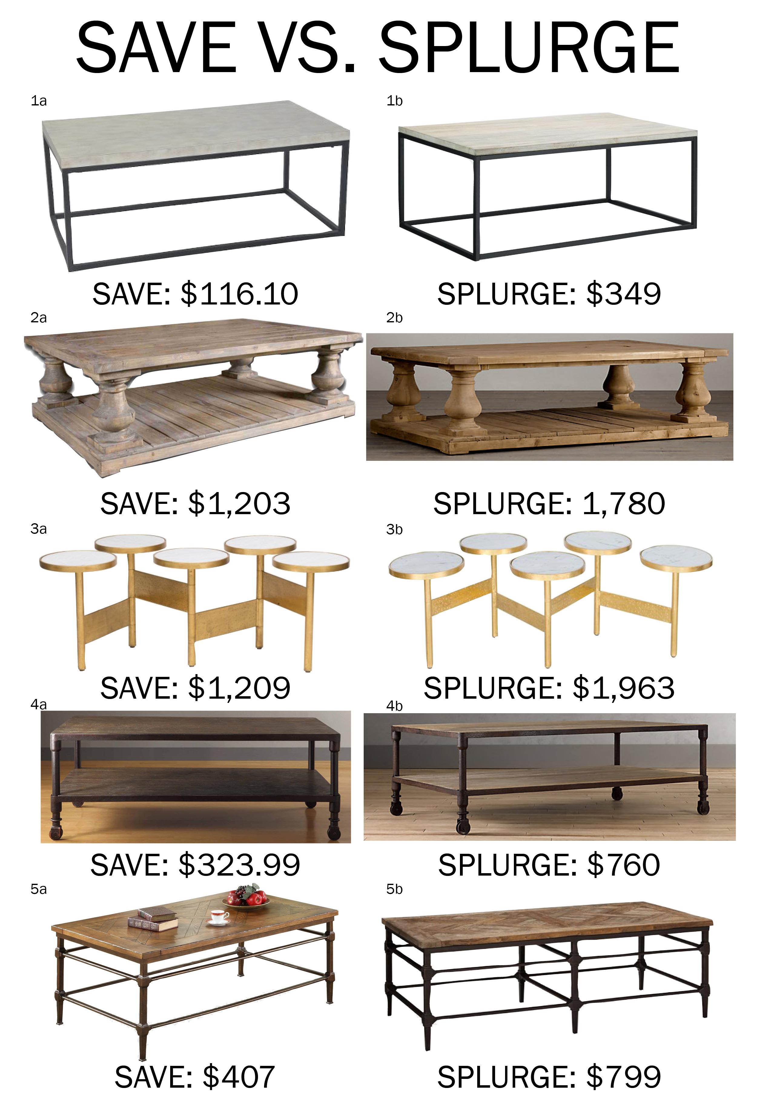 Save vs. splurge: coffee tables