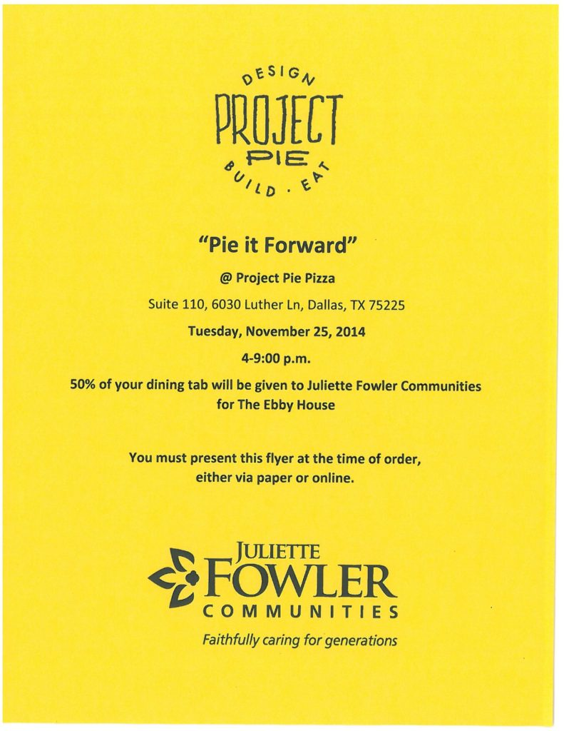 Pie it Forward Yellow Flyer
