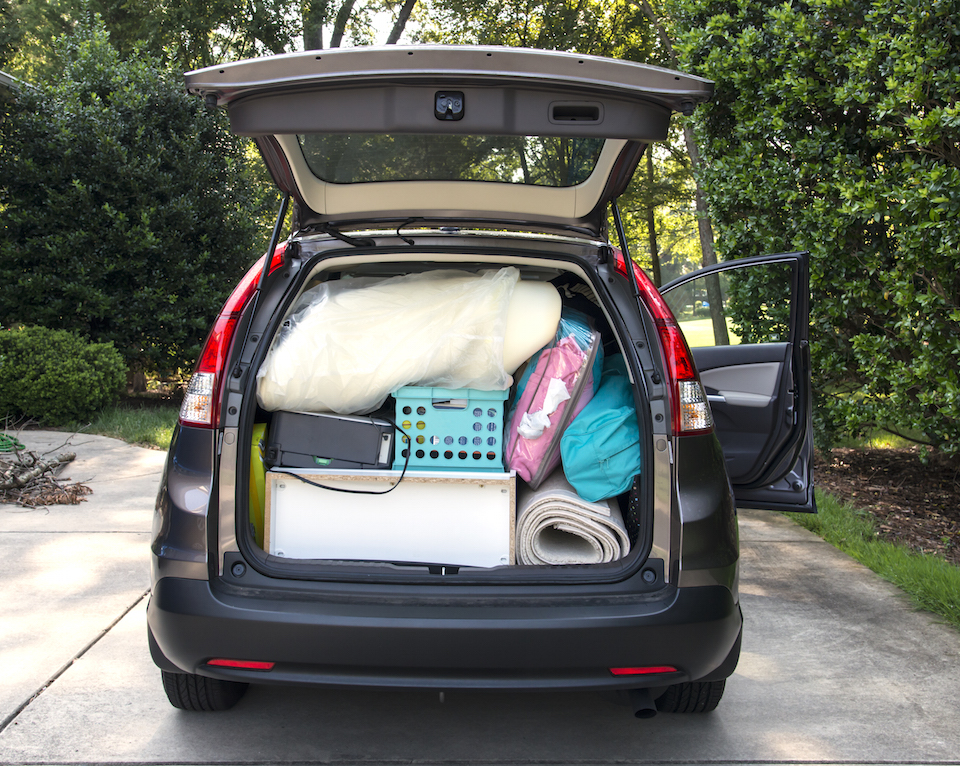 Van loaded full of student's possessions ready to move to the university