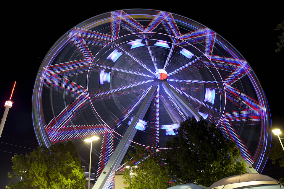 The Texas State Fair Ferris wheel at night