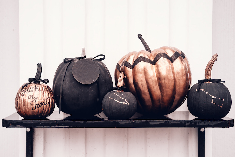 Black and rose cold colored pumpkins