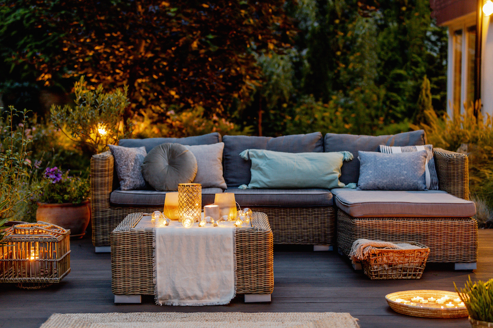 Cozy autumn evening on a modern designed patio