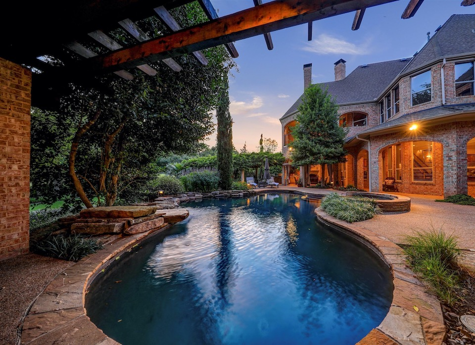 Peaceful backyard pool at 408 Oak Ridge Court in Southlake, Texas.