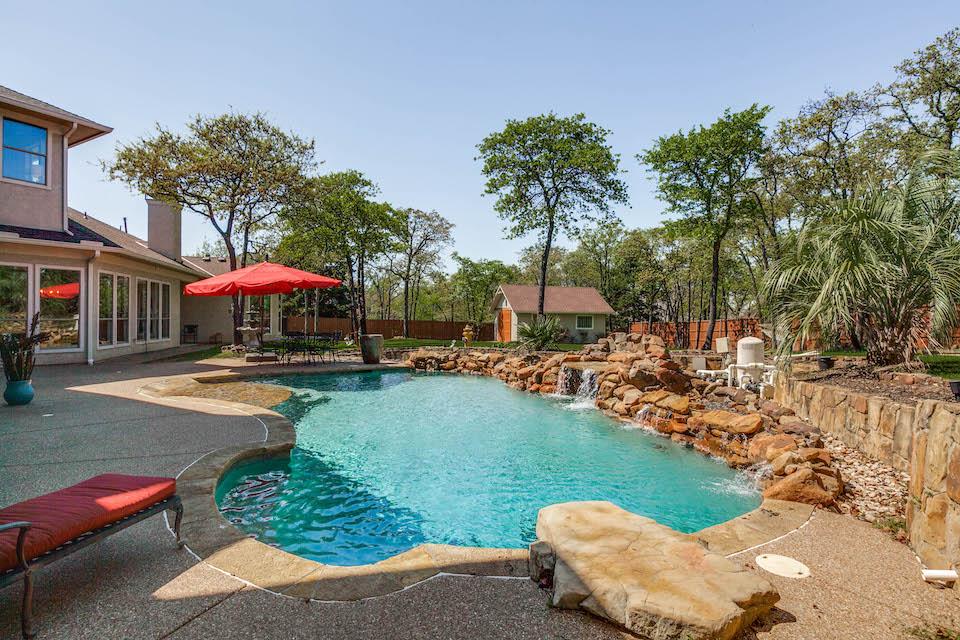 Amazing backyard pool at 1309 Chimney Rock Drive in Keller, Texas.