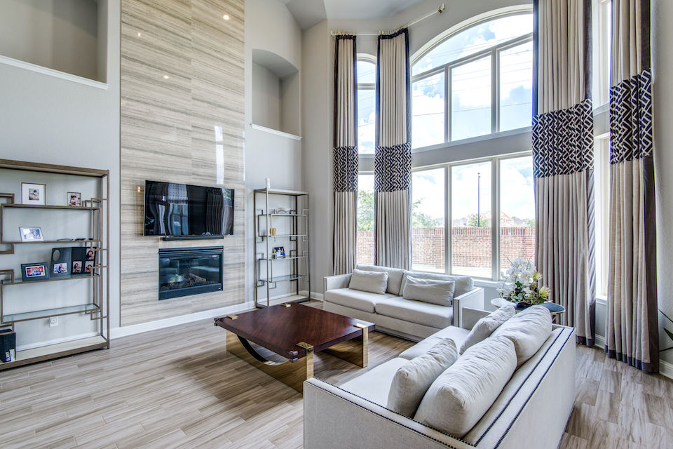 Exquisite living room at 7014 Poco Soto Drive in Frisco, Texas.