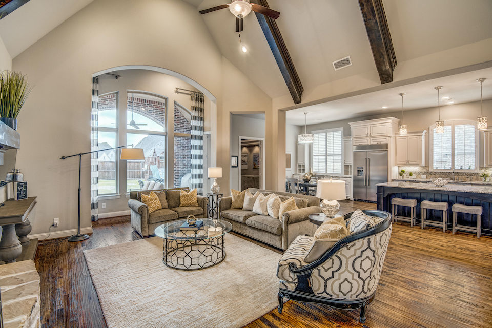 Living room at 2971 Sunny Hill Lane in Prosper, Texas