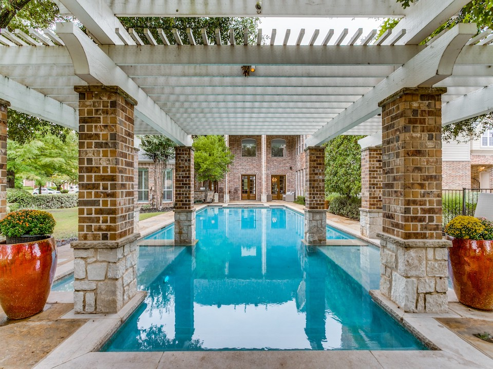 Backyard pool at 5006 Willow Point Circle in Parker, Texas