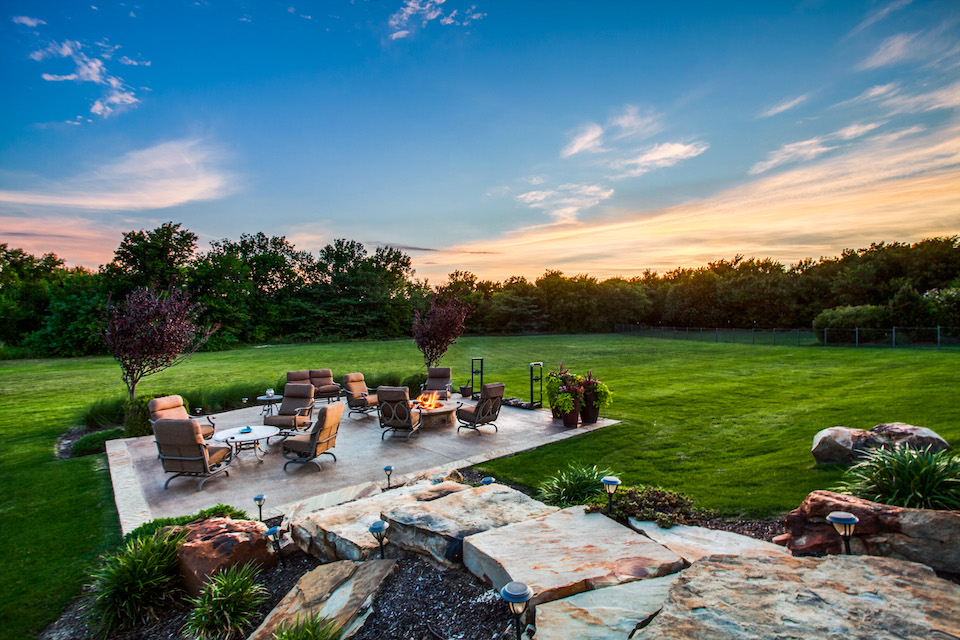 Backyard patio at 911 Woodview Drive in Prosper, Texas