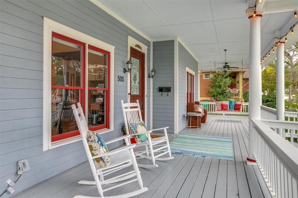Front porch at 505 Heard Street in McKinney, Texas